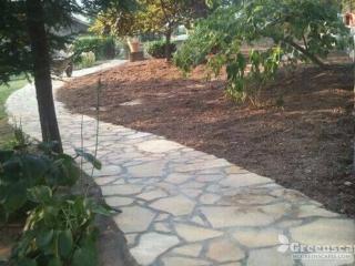Beautiful stone veneer pathway between trees and plants