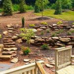 boulder retaining wall and steps