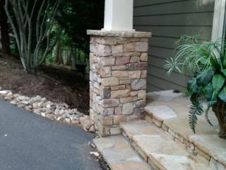 beautiful natural stone column masonry work