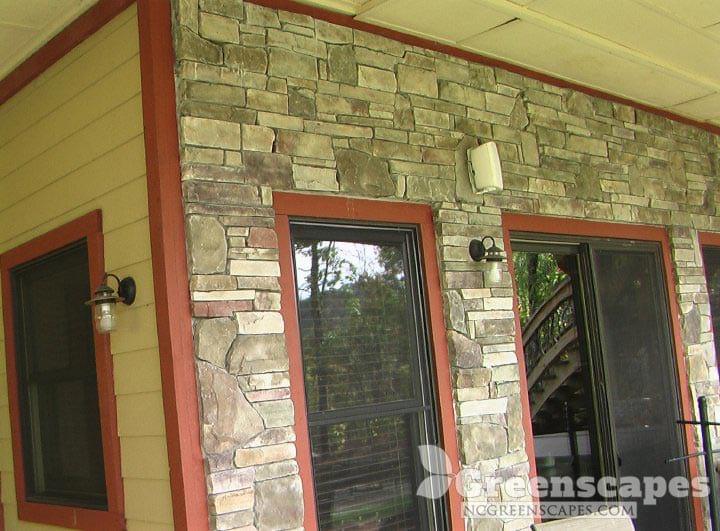 Beautiful stone veneer house siding on porch
