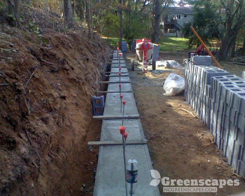 Concrete Foundation to retaining walls
