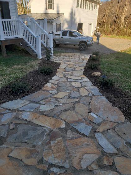 New flagstone walkway installation