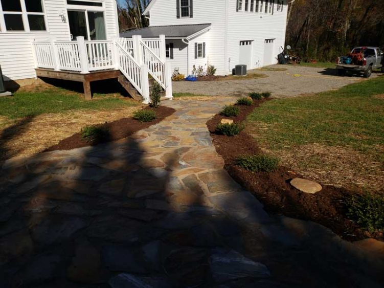 Mountain mist flagstone walkway leading back to home